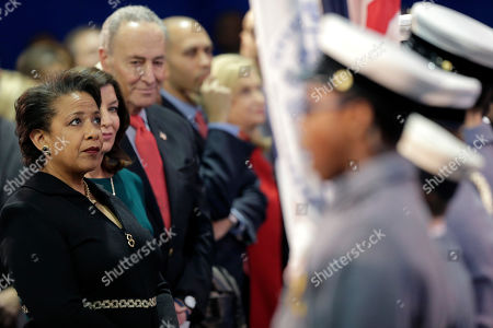 Former Attorney General Loretta Lynch participates in an inauguration ceremony for the new Attorney General of New York, Letitia James, in New York