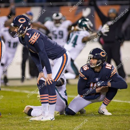 Chicago, Illinois, U.S. - Bears Kicker #1 Cody Parkey and #16 Pat O'Donnell reacts after missing the game winning field goal during the NFL Playoff Game between the Philadelphia Eagles and Chicago Bears at Soldier Field in Chicago, IL. Photographer: Mike Wulf