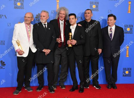 "Jim Beach, Roger Taylor, Brian May, Rami Malek, Graham King, Mike Myers. Jim Beach, from left, Roger Taylor, Brian May, Rami Malek, Graham King, and Mike Myers pose in the press room with the award for best motion picture, drama for ""Bohemian Rhapsody"" at the 76th annual Golden Globe Awards at the Beverly Hilton Hotel, in Beverly Hills, Calif"