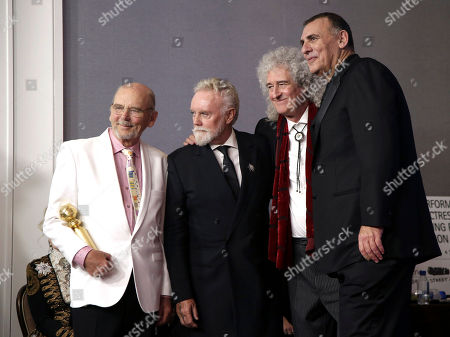 Jim Beach, Roger Taylor and Brian May of Queen, and Graham King pose in the press room during the 76th annual Golden Globe Awards ceremony at the Beverly Hilton Hotel, in Beverly Hills, California, USA, 06 January 2019.