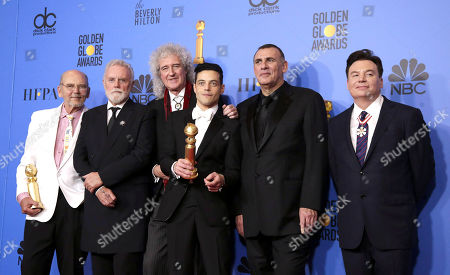 Jim Beach, Roger Taylor and Brian May of Queen, Rami Malek, Graham King and Mike Myers pose with their awards for 'Bohemian Rhapsody' in the press room during the 76th annual Golden Globe Awards ceremony at the Beverly Hilton Hotel, in Beverly Hills, California, USA, 06 January 2019.