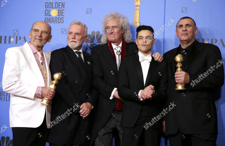 Jim Beach, Roger Taylor and Brian May of Queen, Rami Malek, Graham King pose with their awards for 'Bohemian Rhapsody' in the press room during the 76th annual Golden Globe Awards ceremony at the Beverly Hilton Hotel, in Beverly Hills, California, USA, 06 January 2019.