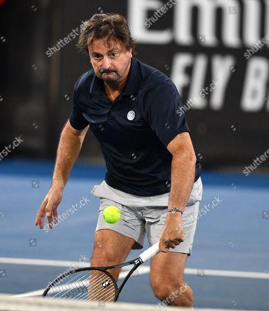Henri Leconte during his doubles game against  Pat Cash and Borna Coric at the World Tennis Challenge at Memorial Drive Park in Adelaide, Monday, January 7, 2019.