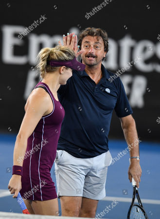 Henri Leconte (R) and Eugenie Bouchard during their doubles game against Pat Cash and Borna Coric at the World Tennis Challenge at Memorial Drive Park in Adelaide, Monday, January 7, 2019.
