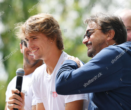 Alexander Zverev (C) of Germany and former French tennis great Henri Leconte (R) take part in a media event in the Adelaide Parklands ahead of the World Tennis Challenge at Memorial Drive Park in Adelaide, Australia 07 January 2019.