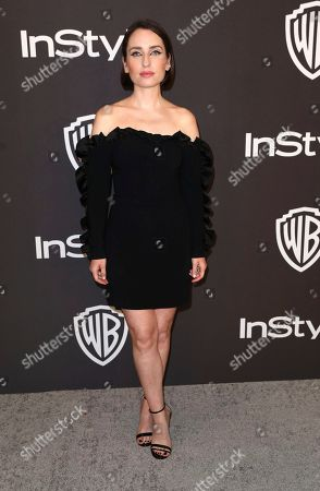 Zoe Lister Jones arrives at the InStyle and Warner Bros. Golden Globes afterparty at the Beverly Hilton Hotel, in Beverly Hills, Calif