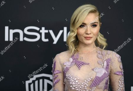 Skyler Samuels arrives at the InStyle and Warner Bros. Golden Globes afterparty at the Beverly Hilton Hotel, in Beverly Hills, Calif