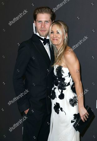 Karl Cook, Kaley Cuoco. Karl Cook, left, and Kaley Cuoco arrive at the InStyle and Warner Bros. Golden Globes afterparty at the Beverly Hilton Hotel, in Beverly Hills, Calif
