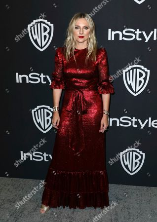Lauren Laverne arrives at the InStyle and Warner Bros. Golden Globes afterparty at the Beverly Hilton Hotel, in Beverly Hills, Calif