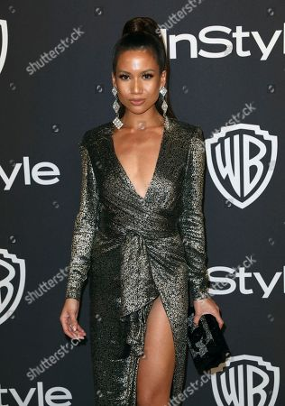 Jessi Malay arrives at the InStyle and Warner Bros. Golden Globes afterparty at the Beverly Hilton Hotel, in Beverly Hills, Calif