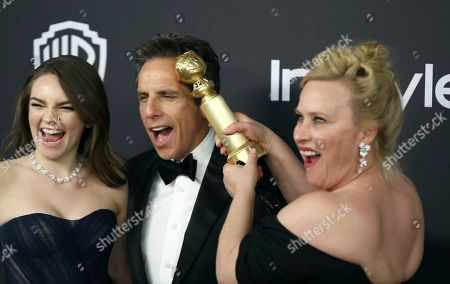 "Patricia Arquette, Ella Stiller, Ben Stiller. Patricia Arquette, right, winner of the award for best performance by an actress in a limited series or a motion picture made for television for ""Escape at Dannemora,"" with Ella Stiller, left, and Ben Stiller as they arrive at the InStyle and Warner Bros. Golden Globes afterparty at the Beverly Hilton Hotel, in Beverly Hills, Calif"
