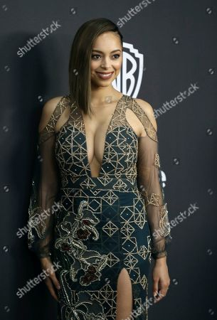 Amber Stevens West arrives at the InStyle and Warner Bros. Golden Globes afterparty at the Beverly Hilton Hotel, in Beverly Hills, Calif