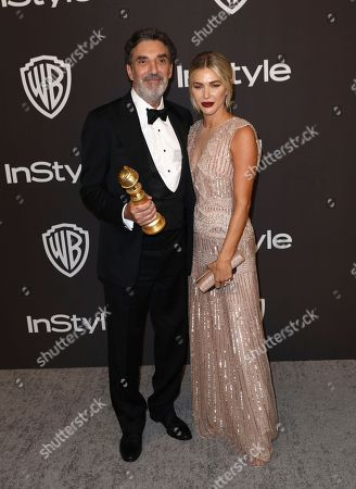 """Chuck Lorre, Arielle Mandelson. Chuck Lorre, winner of the award for best television series, musical or comedy for """"The Kominsky Method"""", left, and Arielle Mandelson arrive at the InStyle and Warner Bros. Golden Globes afterparty at the Beverly Hilton Hotel, in Beverly Hills, Calif"""