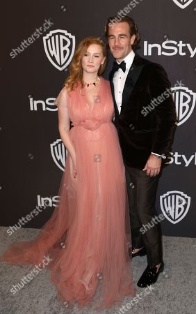Kimberly Brook, James Van Der Beek. Kimberly Brook, left, and James Van Der Beek arrive at the InStyle and Warner Bros. Golden Globes afterparty at the Beverly Hilton Hotel, in Beverly Hills, Calif