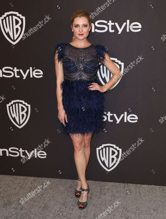 Katherine Bailess arrives at the InStyle and Warner Bros. Golden Globes afterparty at the Beverly Hilton Hotel, in Beverly Hills, Calif