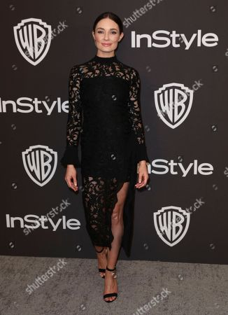 Mallory Jansen arrives at the InStyle and Warner Bros. Golden Globes afterparty at the Beverly Hilton Hotel, in Beverly Hills, Calif