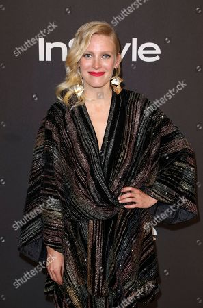 Laura Birn arrives at the InStyle and Warner Bros. Golden Globes afterparty at the Beverly Hilton Hotel, in Beverly Hills, Calif