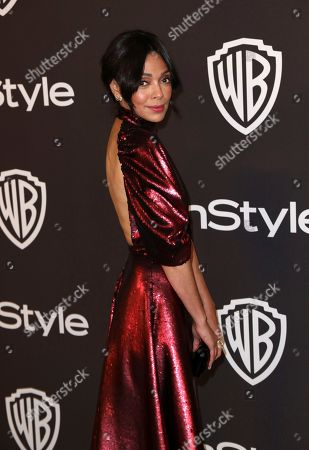 Tamara Taylor arrives at the InStyle and Warner Bros. Golden Globes afterparty at the Beverly Hilton Hotel, in Beverly Hills, Calif