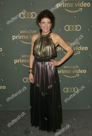 Amy Aquino arrives at the Amazon Golden Globes afterparty at the Beverly Hilton Hotel, in Beverly Hills, Calif