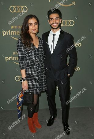 Stock Photo of Elma Begovic, Mena Massoud. Elma Begovic, left, and Mena Massoud arrive at the Amazon Golden Globes afterparty at the Beverly Hilton Hotel, in Beverly Hills, Calif