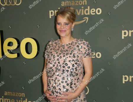 Joanna Kulig arrives at the Amazon Golden Globes afterparty at the Beverly Hilton Hotel, in Beverly Hills, Calif