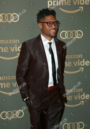London Brown arrives at the Amazon Golden Globes afterparty at the Beverly Hilton Hotel, in Beverly Hills, Calif