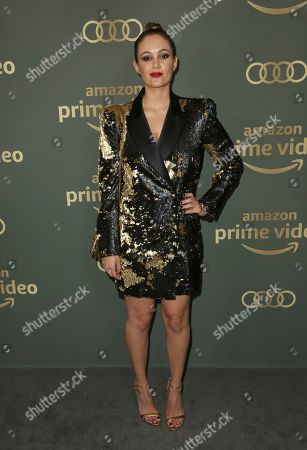Dina Shihabi arrives at the Amazon Golden Globes afterparty at the Beverly Hilton Hotel, in Beverly Hills, Calif