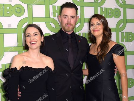 Zoe Lister-Jones, Colin Hanks, Angelique Cabral. Zoe Lister-Jones, from left, Colin Hanks and Angelique Cabral arrive at the HBO Golden Globes afterparty at the Beverly Hilton Hotel, in Beverly Hills, Calif