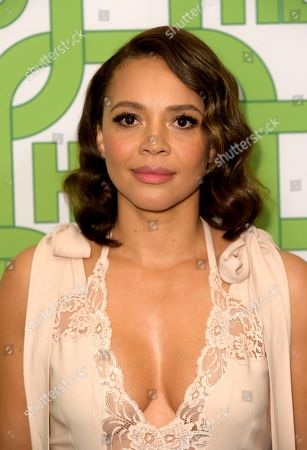 Carmen Ejogo arrives at the HBO Golden Globes afterparty at the Beverly Hilton Hotel, in Beverly Hills, Calif