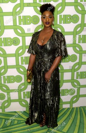 Yaani King Mondschein arrives at the HBO Golden Globes afterparty at the Beverly Hilton Hotel, in Beverly Hills, Calif