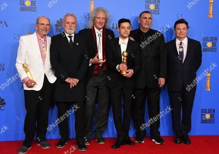 Jim Beach, Roger Taylor, Brian May, Rami Malek, Graham King, Mike Myers. Jim Beach, from left, Roger Taylor, Brian May, Rami Malek, Graham King, and Mike Myers pose in the press room at the 76th annual Golden Globe Awards at the Beverly Hilton Hotel, in Beverly Hills, Calif