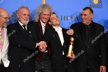 Jim Beach, Roger Taylor, Brian May, Rami Malek, Graham King. Jim Beach, from left, Roger Taylor, Brian May, Rami Malek and Graham King pose in the press room at the 76th annual Golden Globe Awards at the Beverly Hilton Hotel, in Beverly Hills, Calif
