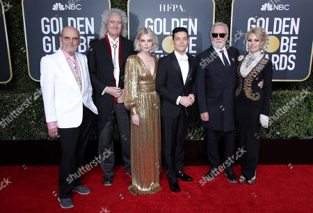 Jim Beach, Brian May, Lucy Boynton, Rami Malek, Roger Taylor and Sarina Potgieter