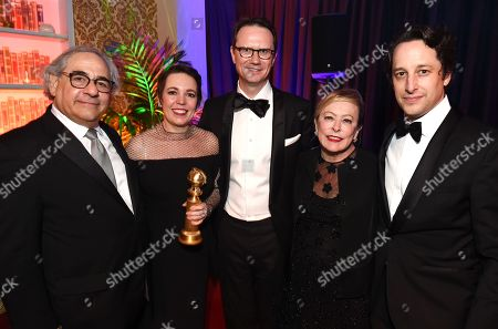 """Steve Gilula, Chairman, Fox Searchlight Pictures, Olivia Colman, winner best actress in a musical or comedy for """"The Favourite"""", Peter Rice, President of 21st Century Fox, Chairman and CEO of Fox Networks Group, Nancy Utley, Chairman, Fox Searchlight Pictures, David Greenbaum, President of Production, Film and Television, Fox Searchlight Pictures"""
