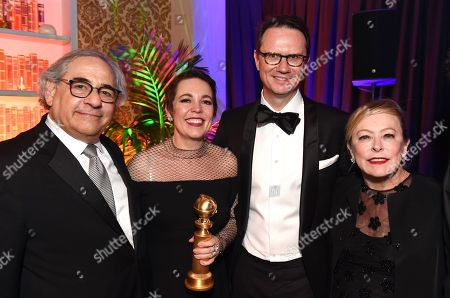 """Steve Gilula, Chairman, Fox Searchlight Pictures, Olivia Colman, winner best actress in a musical or comedy for """"The Favourite"""", Peter Rice, President of 21st Century Fox, Chairman and CEO of Fox Networks Group, Nancy Utley, Chairman, Fox Searchlight Pictures"""