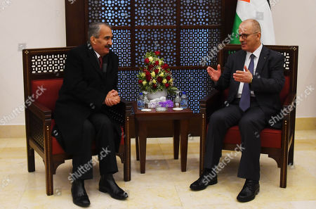 Stock Photo of Palestinian Prime Minister, Rami Hamdallah, meets with Jordanian Interior Minister Samir al-Mubaidin, in the West Bank city of Bethlehem