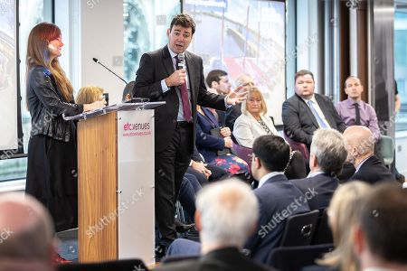 The Metro Mayor of Greater Manchester Andy Burnham announces a revised plan for new housing (some on greenbelt land), transport infrastructure, the reduction of pollution and improvements to the environment across the North West, alongside the regeneration of Stockport Town Centre, at an event at etc Venues in Manchester City Centre.