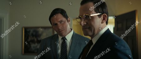 Christian Bale (left) as Dick Cheney and Steve Carell (right) as Donald Rumsfeld in Adam McKay?s VICE, an Annapurna Pictures release. Credit : Annapurna Pictures 2018 © Annapurna Pictures, LLC. All Rights Reserved.