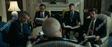 (From L to R) Justin Kirk as Scooter Libby, Eddie Marsan as Paul Wolfowitz, Brandon Bales as CIA Agent #1, and Don McManus as David Addington in Adam McKay?s VICE, an Annapurna Pictures release. Credit : Annapurna Pictures 2018 © Annapurna Pictures, LLC. All Rights Reserved.