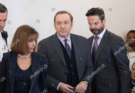 Actor Kevin Spacey (C) and his attorneys Alan Jackson (R) and Juliane Balliro (L) arrive appear at the Nantucket District Court, in Nantucket, Massachusetts, USA, 07 January 2019. Spacey appeared at the Nantucket District Court for arraignment on a sexual assault charge that allegedly took place at the Club Car in July 2016. According to reports, Spacey has said he will plead not guilty.