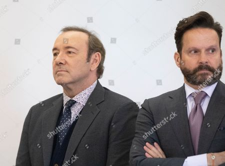 Actor Kevin Spacey (L) and his attorney Alan Jackson (R) appear at the Nantucket District Court, in Nantucket, Massachusetts, USA, 07 January 2019. Spacey appeared at the Nantucket District Court for arraignment on a sexual assault charge that allegedly took place at the Club Car in July 2016. According to reports, Spacey has said he will plead not guilty.