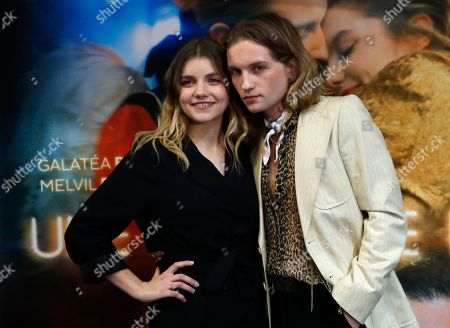 "Actress Galatea Bellugi and actor Lukas Ionesco pose during the premiere of the movie ""Une Jeunesse Doree"" in Paris"