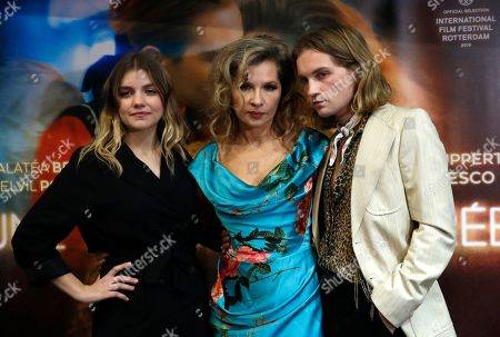 "French director Eva Ionesco, center, her son Lukas Ionesco, right, and Actress Galatea Bellugi pose during the premiere of the movie ""Une Jeunesse Doree"" in Paris"