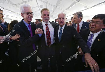 Gray Davis, Arnold Schwarzenegger, Jerry Brown. From left, former California Governors Gray Davis, Arnold Schwarzenegger and Jerry Brown gather before the inauguration Gov. Gavin Newsom, in Sacramento, Calif
