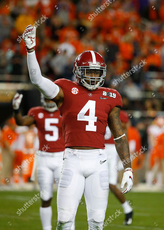 Alabama Crimson Tide linebacker Christopher Allen #4 in action during the National Championship between the Clemson Tigers and the Alabama Crimson Tide at Levi's Stadium in Santa Clara, California