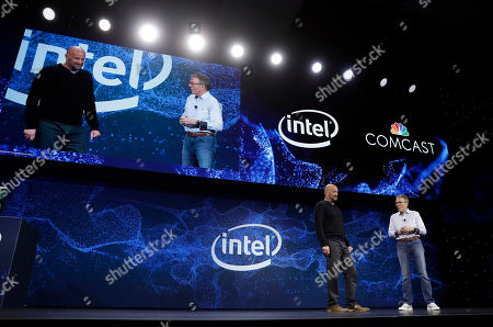 Stock Picture of IMAGE DISTRIBUTED FOR COMCAST - Tony Werner, President Technology, Product, Xperience, Comcast Cable, right, and Gregory Bryant, Intel senior vice president and general manager of the Client Computing Group announce a partnership between the two technology companies to redefine connectivity into and within the home, in Las Vegas. The partnership is focused on enabling ultra-fast wi-fi, 10 gigabit networks and new entertainment experiences within the home
