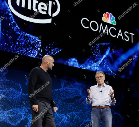 Stock Image of IMAGE DISTRIBUTED FOR COMCAST - Tony Werner, President Technology, Product, Xperience, Comcast Cable, right, and Gregory Bryant, Intel senior vice president and general manager of the Client Computing Group announce a partnership between the two technology companies to redefine connectivity into and within the home, in Las Vegas. The partnership is focused on enabling ultra-fast wi-fi, 10 gigabit networks and new entertainment experiences within the home