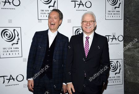 Richard E. Grant, Steve Martin. Best supporting actor honoree Richard E. Grant, left, and presenter Steve Martin attend the New York Film Critics Circle Awards at Tao Downtown, in New York