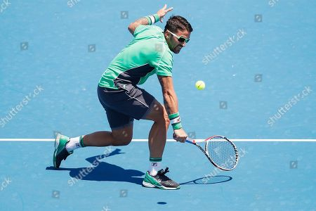 Janko Tipsarevic of Serbia in action against Jason Kubler of Australia during match two of the Kooyong Classic at Kooyong Lawn Tennis Club in Melbourne, Australia, 08 January 2019.