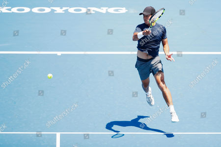 Jason Kubler of Australia in action against Janko Tipsarevic of Serbia during match two of the Kooyong Classic at Kooyong Lawn Tennis Club in Melbourne, Australia, 08 January 2019.